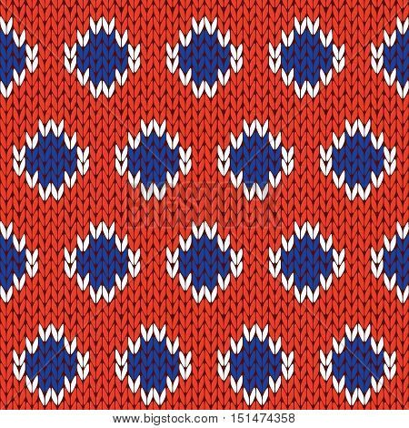 Knitting Seamless Pattern In Blue, White And Orange Colors