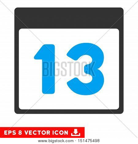 Thirteenth Calendar Page icon. Vector EPS illustration style is flat iconic bicolor symbol, blue and gray colors.