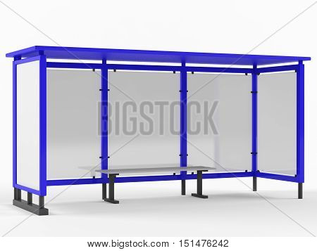 Bus stop on the white background. 3D rendering