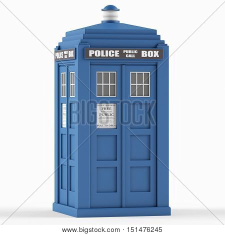 Police box on a white background. 3D rendering