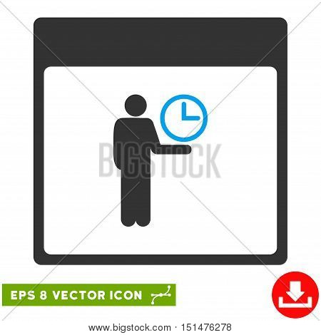 Time Manager Calendar Page icon. Vector EPS illustration style is flat iconic bicolor symbol, blue and gray colors.