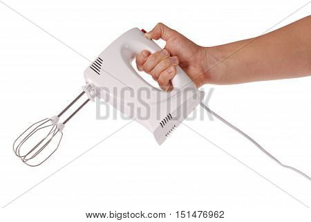 Chef holding white plastik blender isolated on white background. Clipping path
