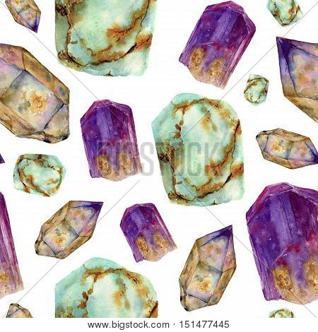 Watercolor gem stones pattern. Jade turquoise, amethyst and rauchtopaz stones seamless ornament isolated on white background. For design, prints or background.