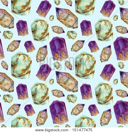 Watercolor gem stones seamless pattern. Jade turquoise, amethyst and rauchtopaz stones ornament isolated on blue background. For design, prints or background.
