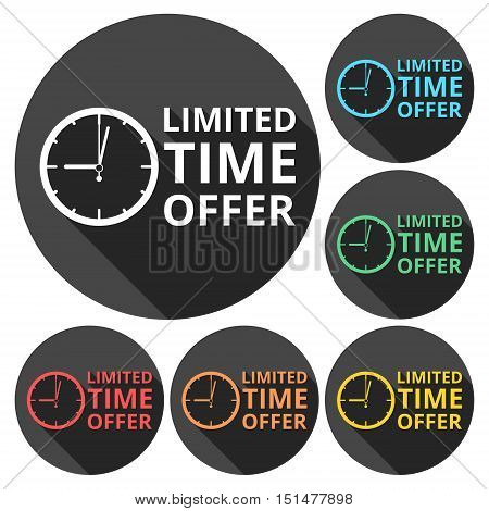 Limited time offer icons set with long shadow