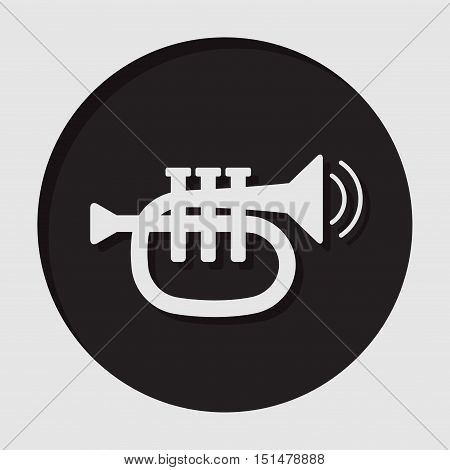 information icon - dark circle white trumpet sound two vibration waves and shadow