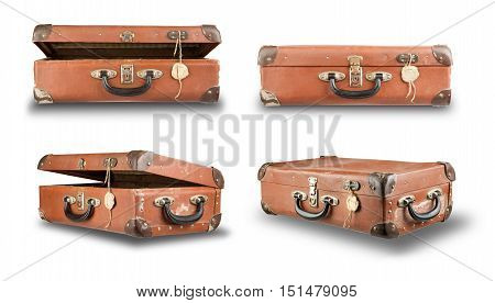 Set of old isolated on white background suitcases. Set luggage for travel.