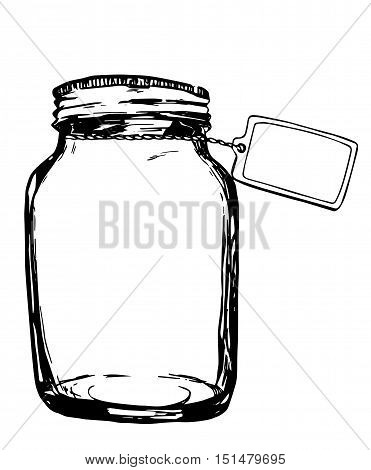 Vector jar with label. Hand-drawn artistic illustration for design, textile, prints