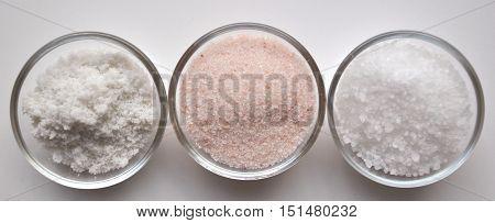 Pink Himalayan Salt, Grey Sea Salt and White Sea Salt