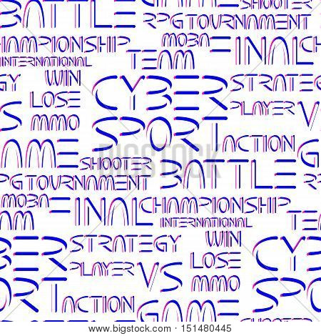 Cyber sport. Vector words and phrases related to computer games tournaments. Vector seamless pattern