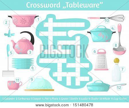 Crossword Tableware . Multicolored crossword. Education game for children. Vector illustration