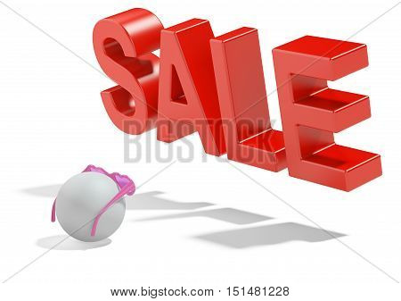 Person in glasses and sale sign. The concept of a expectation large sell-off. 3d high resolution illustration.