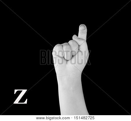 The Letter Z. Finger Spelling the Alphabet in American Sign Language (ASL).