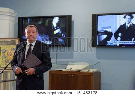 ST. PETERSBURG, RUSSIA - OCTOBER 7, 2016: Head of regional administration of MIA general Sergey Umnov during the opening of exhibition dedicated to 85th anniversary of Russian author Julian Semyonov