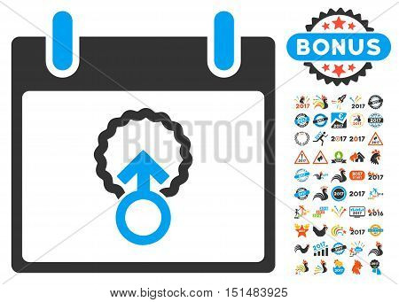 Cell Penetration Calendar Day pictograph with bonus calendar and time management images. Vector illustration style is flat iconic symbols, blue and gray colors, white background.