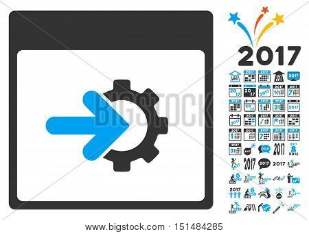 Cog Integration Calendar Page pictograph with bonus calendar and time management pictograph collection. Vector illustration style is flat iconic symbols, blue and gray colors, white background.