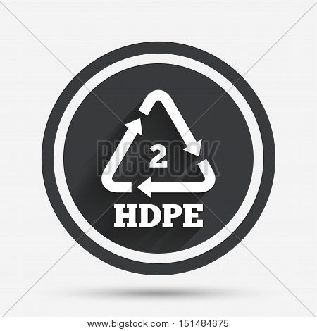 Pe-hd 2 icon. Polyethylene high-density sign. Recycling symbol. Circle flat button with shadow and border. Vector