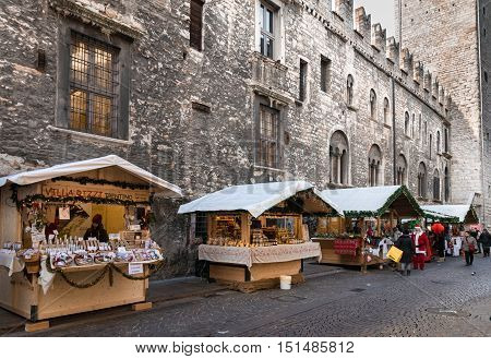 Trento Italy - December 15 2015: Typical stalls of the Christmas markets in Trento Italy.