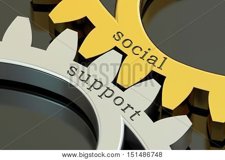 Social Support concept on the gearwheels 3D rendering