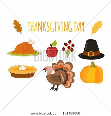 Vector collection of nine thanksgiving decoration elements. Happy thanksgiving lettering items invitation. Thanksgiving printable items with autumn leaves. Thanksgiving card seasonal design.