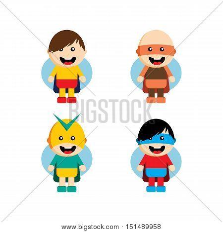 Flat Style Superhero Character Avatar On Ribbon Label Creative Design Template Man Super Hero Profil