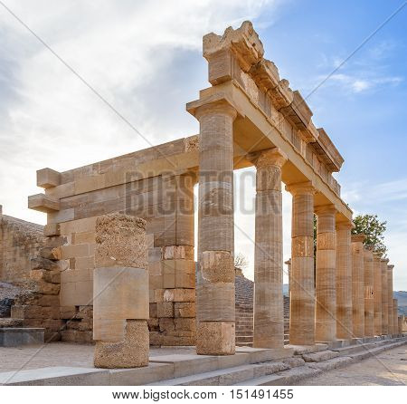 Hellenistic stoa on the Acropolis of Lindos, Rhodes Island, Greece