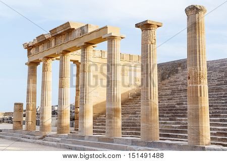 Colonnade with portico main temple of Lindos Rhodes