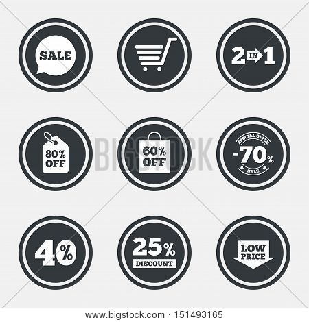 Sale discounts icon. Shopping cart, coupon and low price signs. 25, 40 and 60 percent off. Special offer symbols. Circle flat buttons with icons and border. Vector