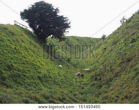 Old Sarum Castle Ditch In Salisbury
