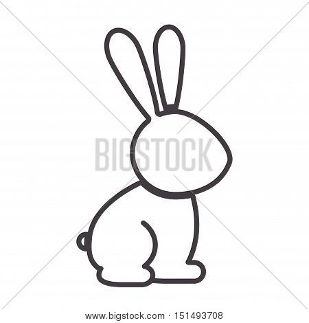 silhouette with rabbit domestic animal vector illustration