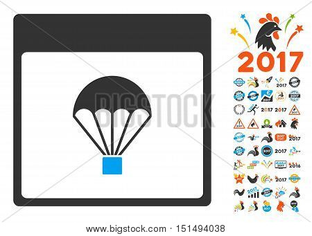 Parachute Calendar Page icon with bonus calendar and time management design elements. Vector illustration style is flat iconic symbols, blue and gray colors, white background.