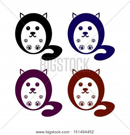 Round cat contour on a white background collection of vector illustrations
