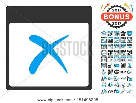 Reject Calendar Page pictograph with bonus calendar and time management pictogram set. Vector illustration style is flat iconic symbols, blue and gray colors, white background.