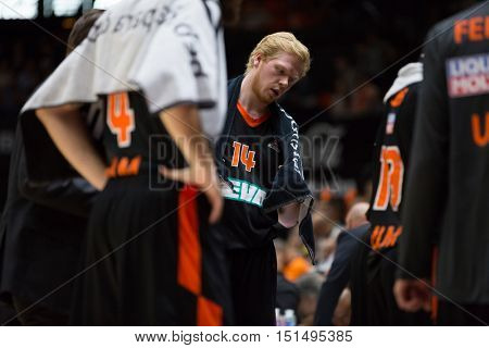VALENCIA, SPAIN - OCTOBER 12th: 14 Neumann during Eurocup match between Valencia Basket and Ratiopharm Ulm at Fonteta Stadium on October 12, 2016 in Valencia, Spain