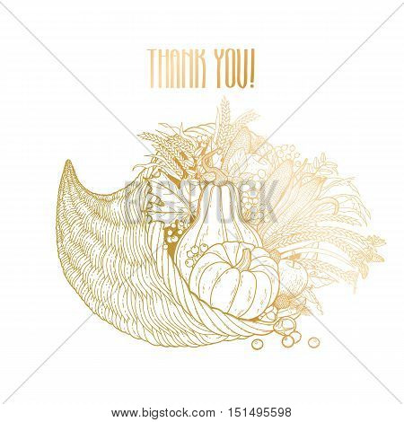 Graphic cornucopia drawn in line art style. Thanksgiving day art. Vector illustration isolated on white background in golden colors.