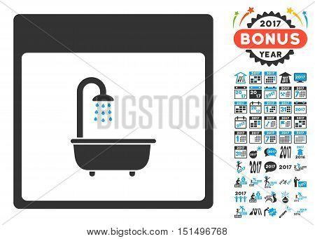 Shower Bath Calendar Page icon with bonus calendar and time management images. Vector illustration style is flat iconic symbols, blue and gray colors, white background.