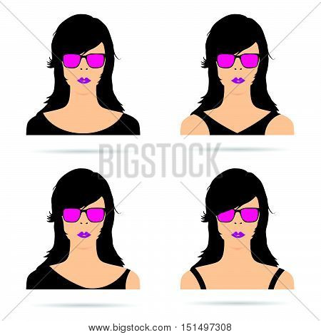 Woman Head With Sunglasses Set Sensual Illustration