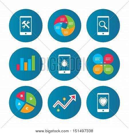 Business pie chart. Growth curve. Presentation buttons. Smartphone icons. Shield protection, repair, software bug signs. Search in phone. Hammer with wrench service symbol. Data analysis. Vector