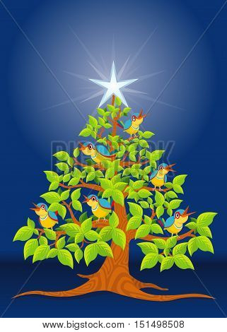 Christmas tree with colorful birds singing and white star on blue background - Vector image