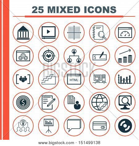 Set Of 25 Universal Icons On Graphical Grid, Blank Cd, Video Player And More Topics. Vector Icon Set