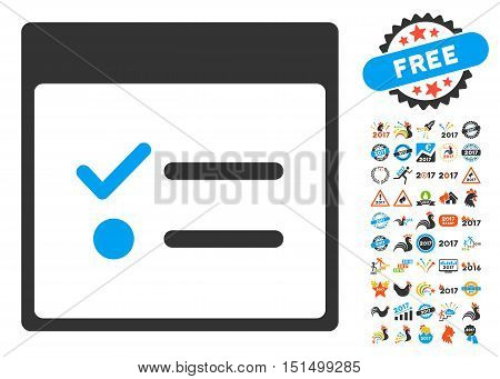 Todo Items Calendar Page icon with bonus calendar and time management pictures. Vector illustration style is flat iconic symbols, blue and gray colors, white background.