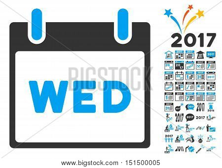 Wednesday Calendar Page pictograph with bonus calendar and time management images. Vector illustration style is flat iconic symbols, blue and gray colors, white background.