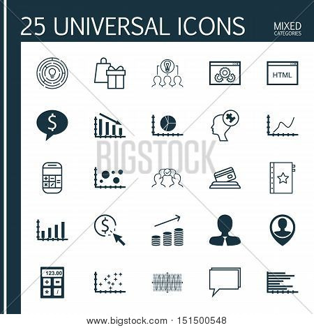 Set Of 25 Universal Icons On Credit Card, Achievement Graph, Calculation And More Topics. Vector Ico