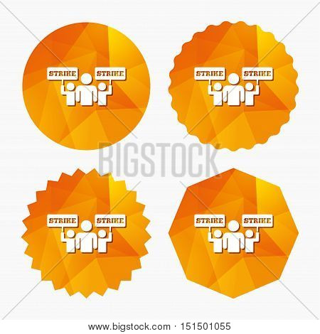 Strike sign icon. Group of people symbol. Industrial action. People holding protest banner. Triangular low poly buttons with flat icon. Vector