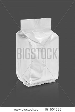 blank packaging aluminum foil pouch ready for product design isolated on gray background