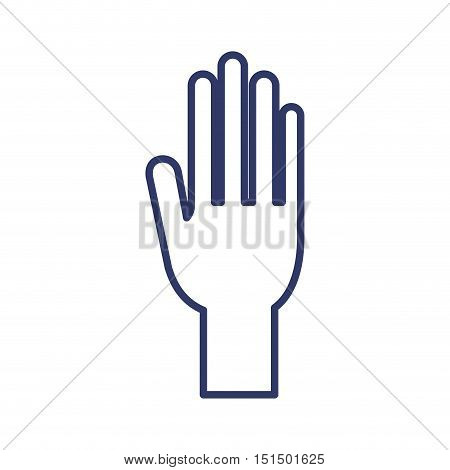 silhouette with human right hand vector illustration