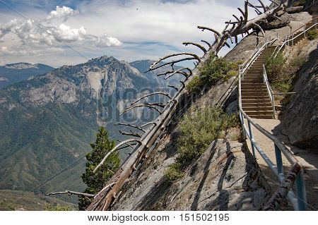 Stairway to the clouds. Hiking to Moro rock, in Sequoia National Park, California