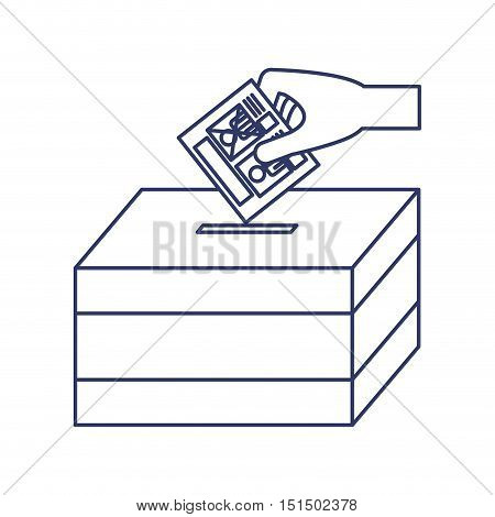 silhouette with vote hand urn vector illustration