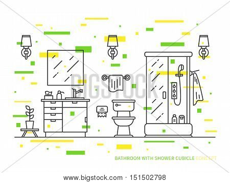 Bathroom with sink bowl shower vector line art illustration. Line graphic design of bathroom modern house. Creative concept of interior design of bathroom with lights lavatory pan and mirror.