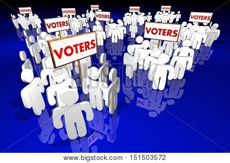 Voters People Groups Voting Election Politics 3d Illustration